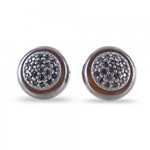 Orecchini in argento con zirconi  neri quarzo fume' made in Italy - gallery