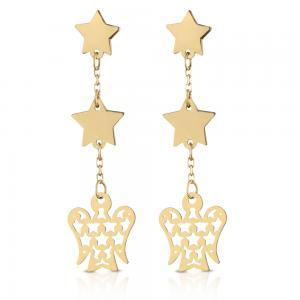 Orecchini in oro 9 kt a pendente Angioletto e stelle NKT285  - gallery