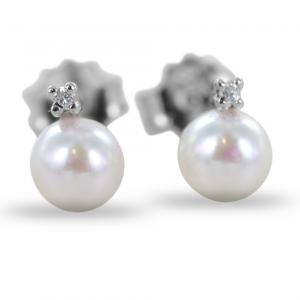 Orecchini Perle Acqua Dolce e diamanti - Freshwater 5.50 - 6.00 mm - gallery