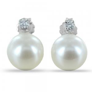Orecchini Perle Acqua Dolce e diamanti - Freshwater 8.50 - 9.00 mm - gallery