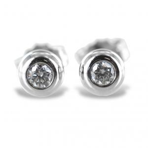 Orecchini punto luce Cipollina grande in oro bianco e diamanti ct. 0.12 G VS - gallery