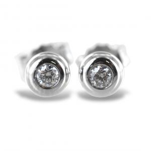 Orecchini punto luce Cipollina media in oro bianco e diamanti ct. 0.10 G VS - gallery