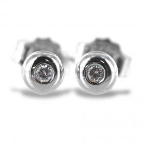 Orecchini punto luce Cipollina piccola in oro bianco e diamanti ct. 0.04 G VS - gallery