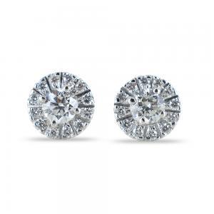 Orecchini punto luce con contorno di diamanti carati 0.58 G - gallery