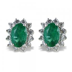 Orecchini Smeraldo Rosetta diamanti modello Maharaja Gioielli Raaja - gallery