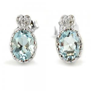 Orecchino con Acquamarina e diamanti su cuore - gallery