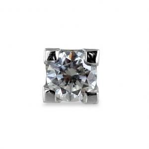 Orecchino punto luce da uomo in oro bianco e diamante ct. 0.10 G  - gallery