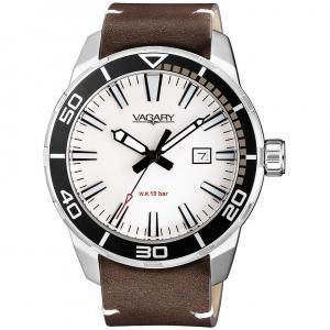 Orologio Vagary da uomo in pelle bianco e nero solo tempo IB8-011-61 - gallery