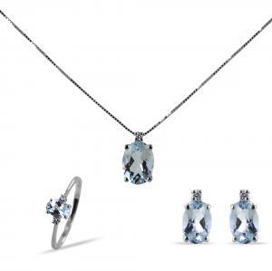 Parure Gioielli con Acquamarina ovale e diamanti - gallery