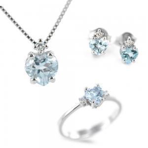 Parure Gioielli Cuore con Acquamarina e diamante  - gallery