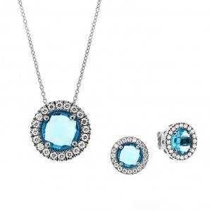 Parure Gioielli Orsini in argento con zircone centrale azzurro rotondo e zirconi bianchi - gallery