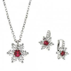Parure Gioielli Orsini stella in argento zircone rosso e zirconi bianchi - gallery