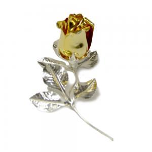 Rosa profumata argentata 11 cm con smalto oro - gallery