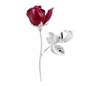 Rosa profumata argentata 11 cm con smalto rosso - gallery