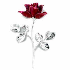 Rosa profumata argentata 14 cm con smalto rosso - gallery