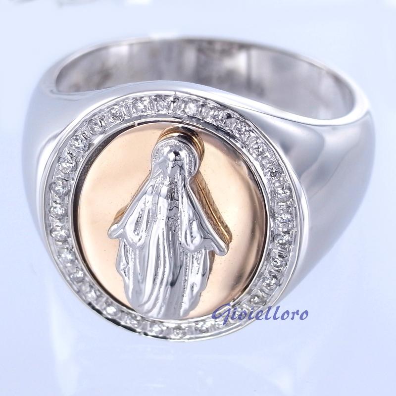 Anello con Madonna Miracolosa in oro e Diamanti Gioielli Valenza