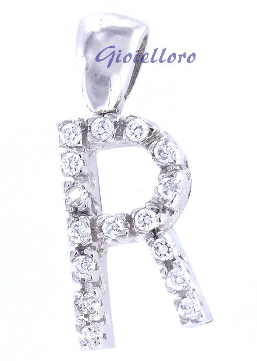 Ciondolo in oro bianco personalizzabile lettera alfabeto con zirconi