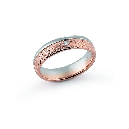 Fede Nuziale Orsini oro 9KT bianco e rosa con diamante FE396