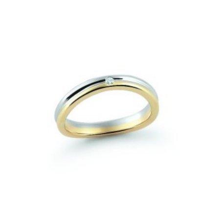 Fede Nuziale Orsini oro 9KT bianco e giallo con diamante FE353