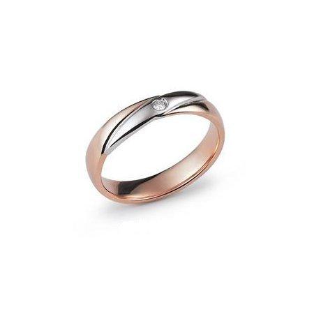 Fede Nuziale Orsini oro 9KT bianco e rosa con diamante FE332