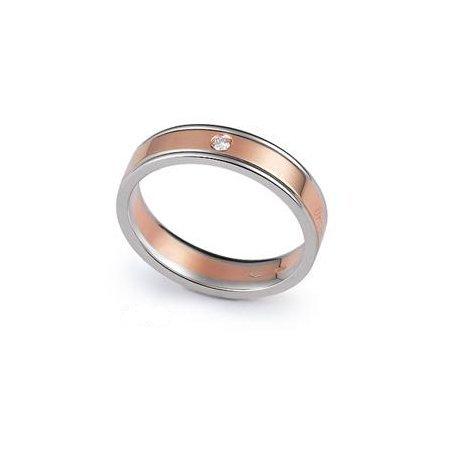 Fede Nuziale Orsini oro 9KT bianco e rosa con diamante FE321
