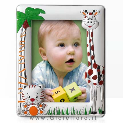 Cornice portafoto da bambino con Tigre e Giraffa in Argento foto 13X18 cm