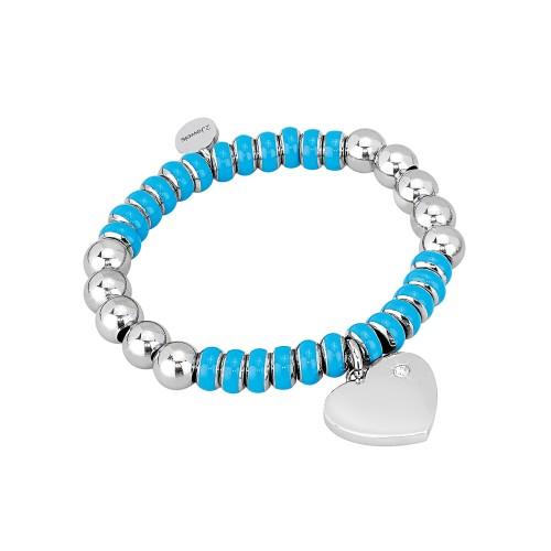 Bracciale 2jewels STRETCH in acciaio con smalti e cristalli Azzurro S