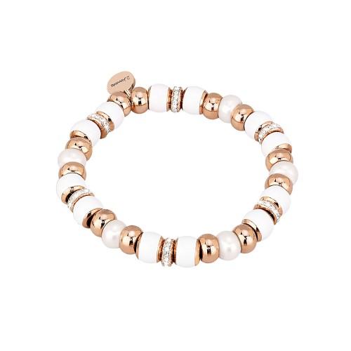 Bracciale 2jewels STRETCH in acciaio Perle smalto bianco e cristalli S
