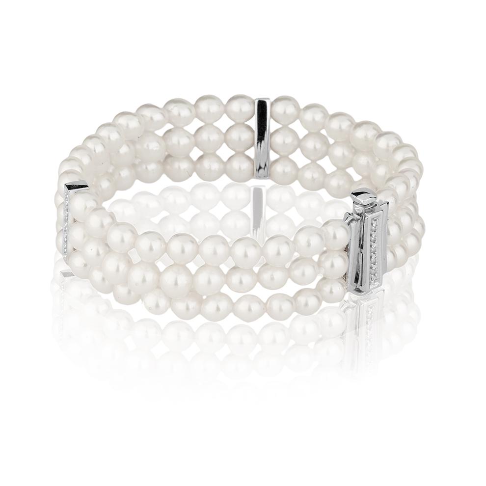 Bracciale di Perle Akoya 5,5 - 6 e Diamanti