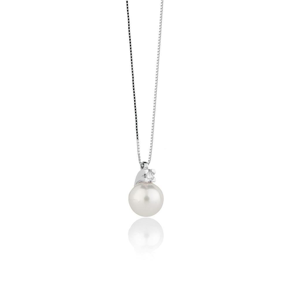 Collana con Perla Akoya 8 - 8,5 e Diamante