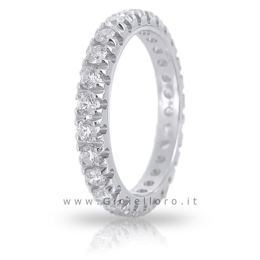 Anello Fede Eternity in oro bianco e Diamanti per ct 1.77 colore G