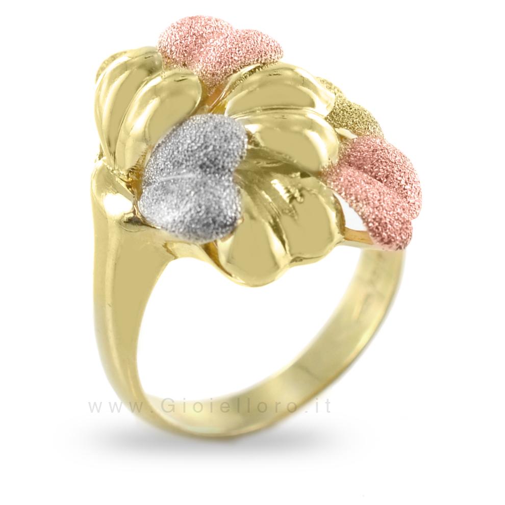 Anello Classico in oro giallo bianco e rosa