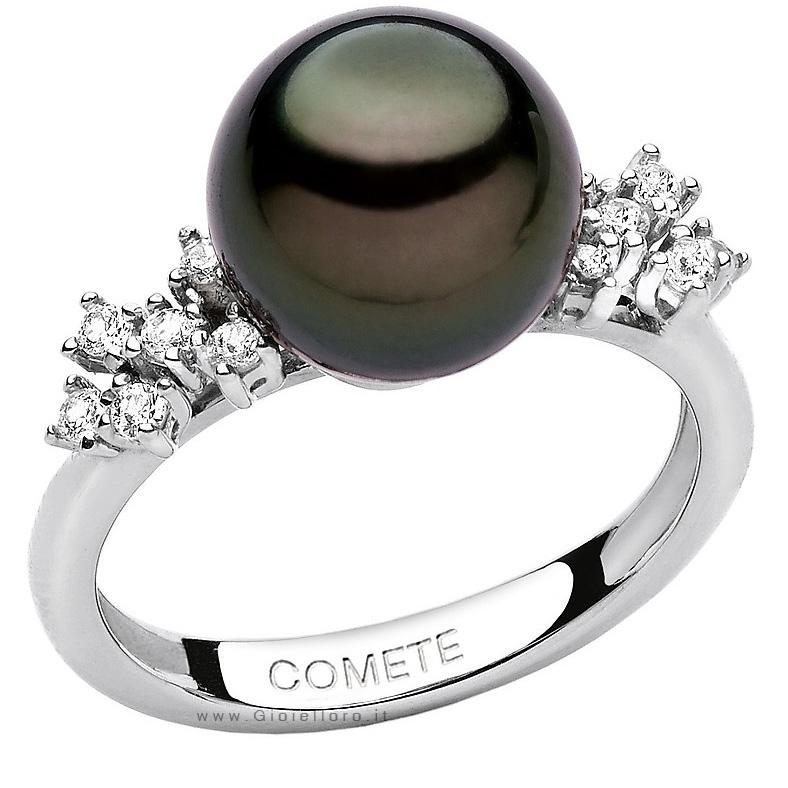 Anello Comete Gioielli LUCE con diamanti e perla Tahitiana ANP338
