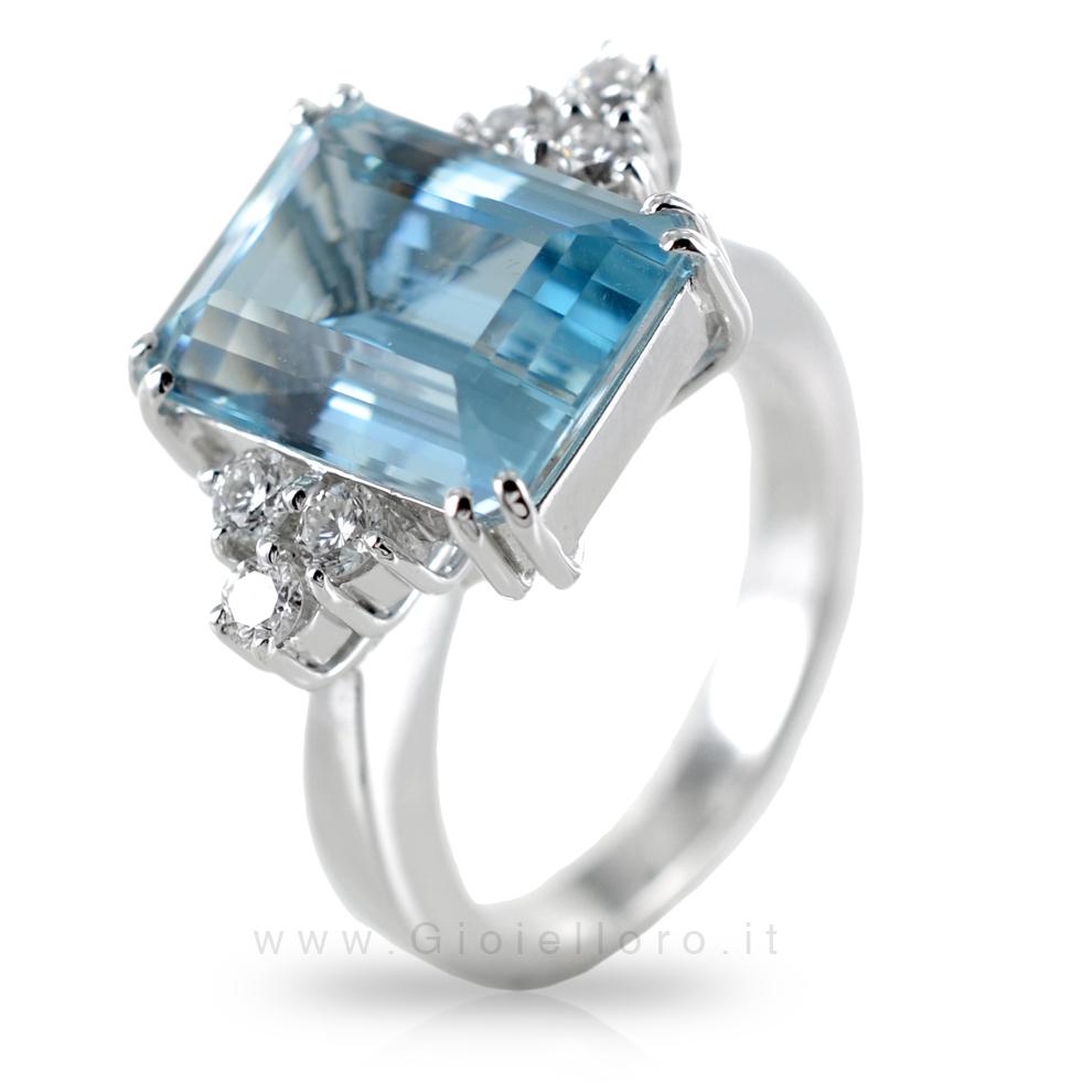 Anello Fantasia con Acquamarina e Diamanti