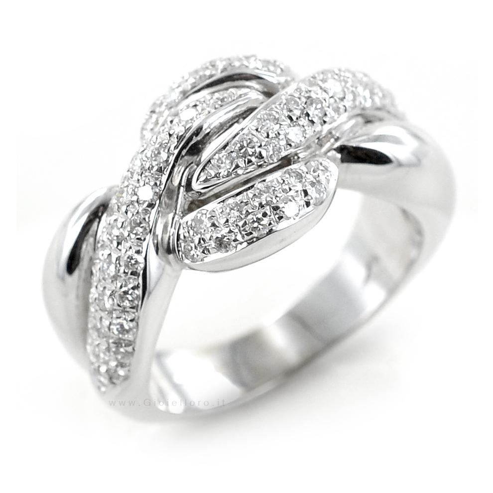 Anello Fantasia in oro bianco e diamanti carati 0.74