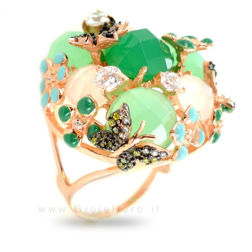 Anello Fiori e farfalle GIOIELLI SAMUI in argento e pietre preziose