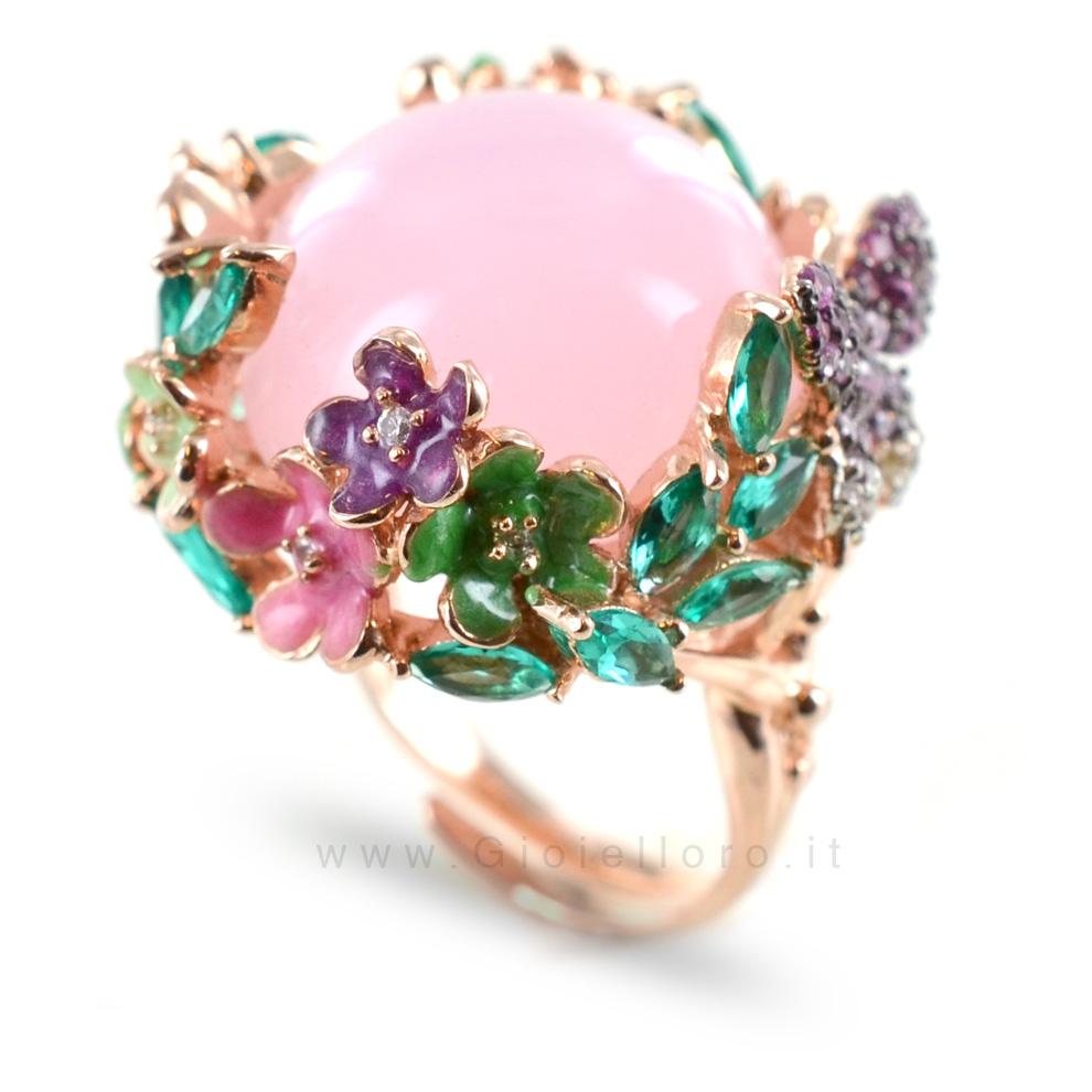 Conosciuto Anello GIOIELLI SAMUI in argento e pietre preziose BOULE rosa  ST52