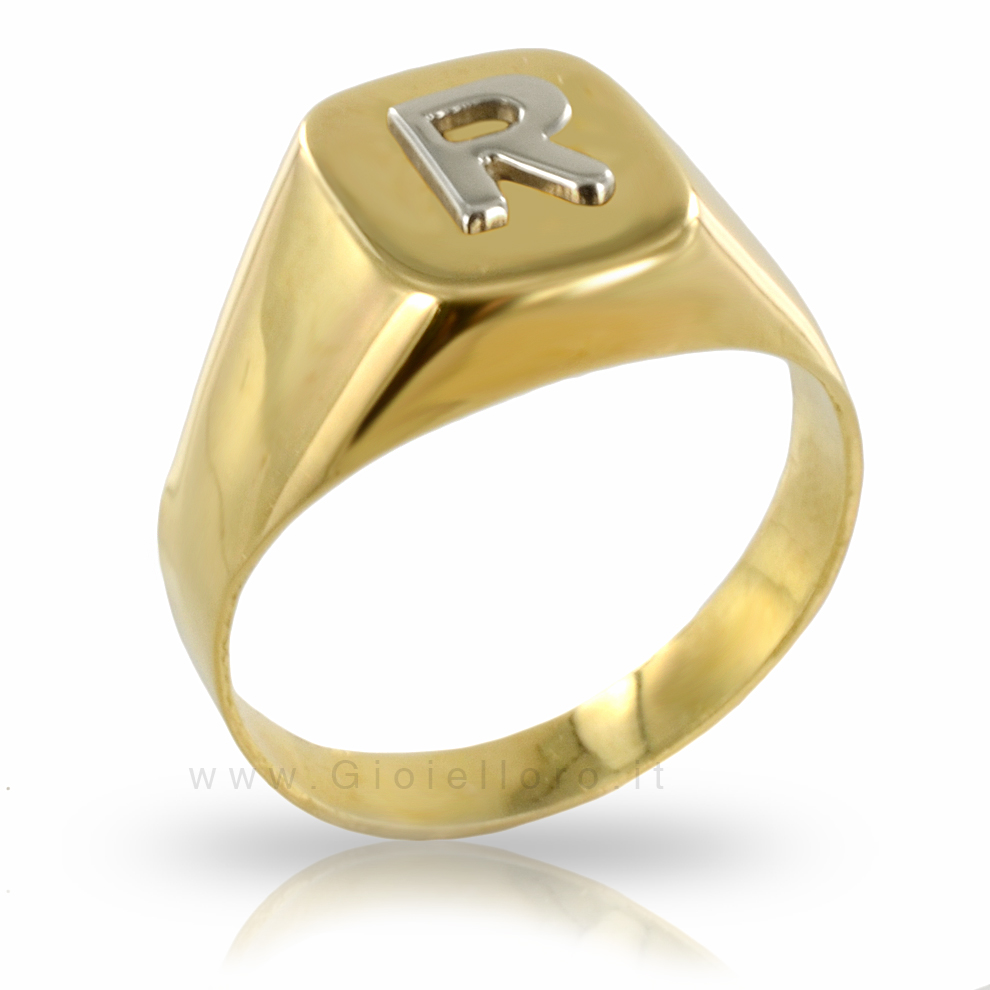 Anello RICORDO in oro giallo e bianco 18 kt