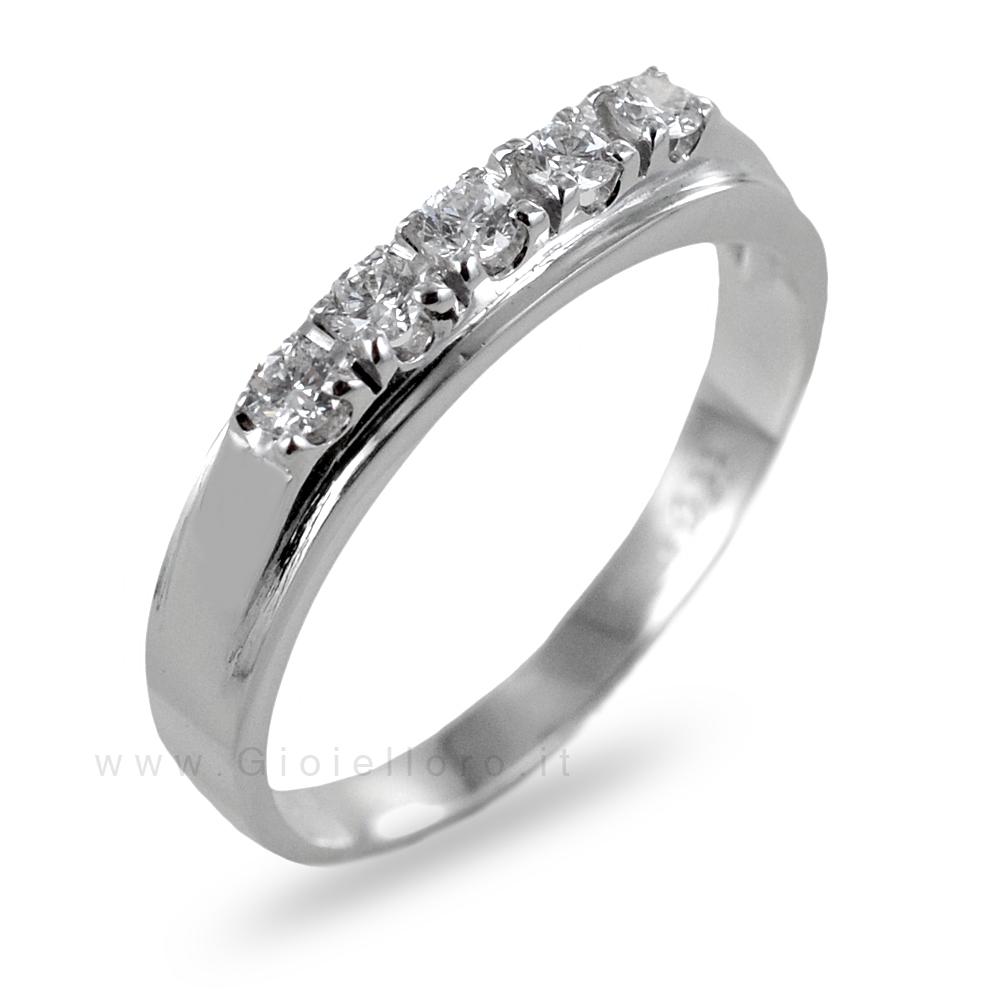 Anello Riviera 5 diamanti in oro e diamanti ct 0.22 G