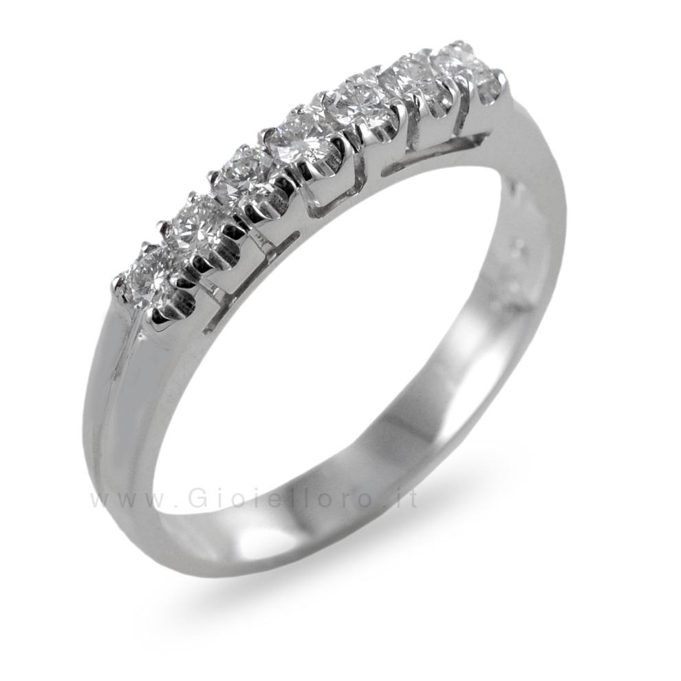 Anello Riviera 7 diamanti in oro e diamanti ct 0.29 G