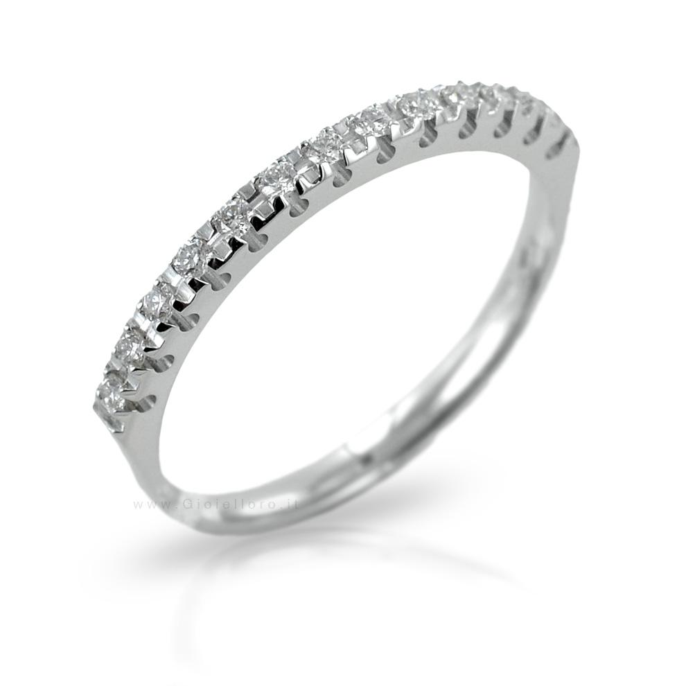Anello Riviera con 13 Diamanti per carati 0.16 G VS Gioielli Valenza