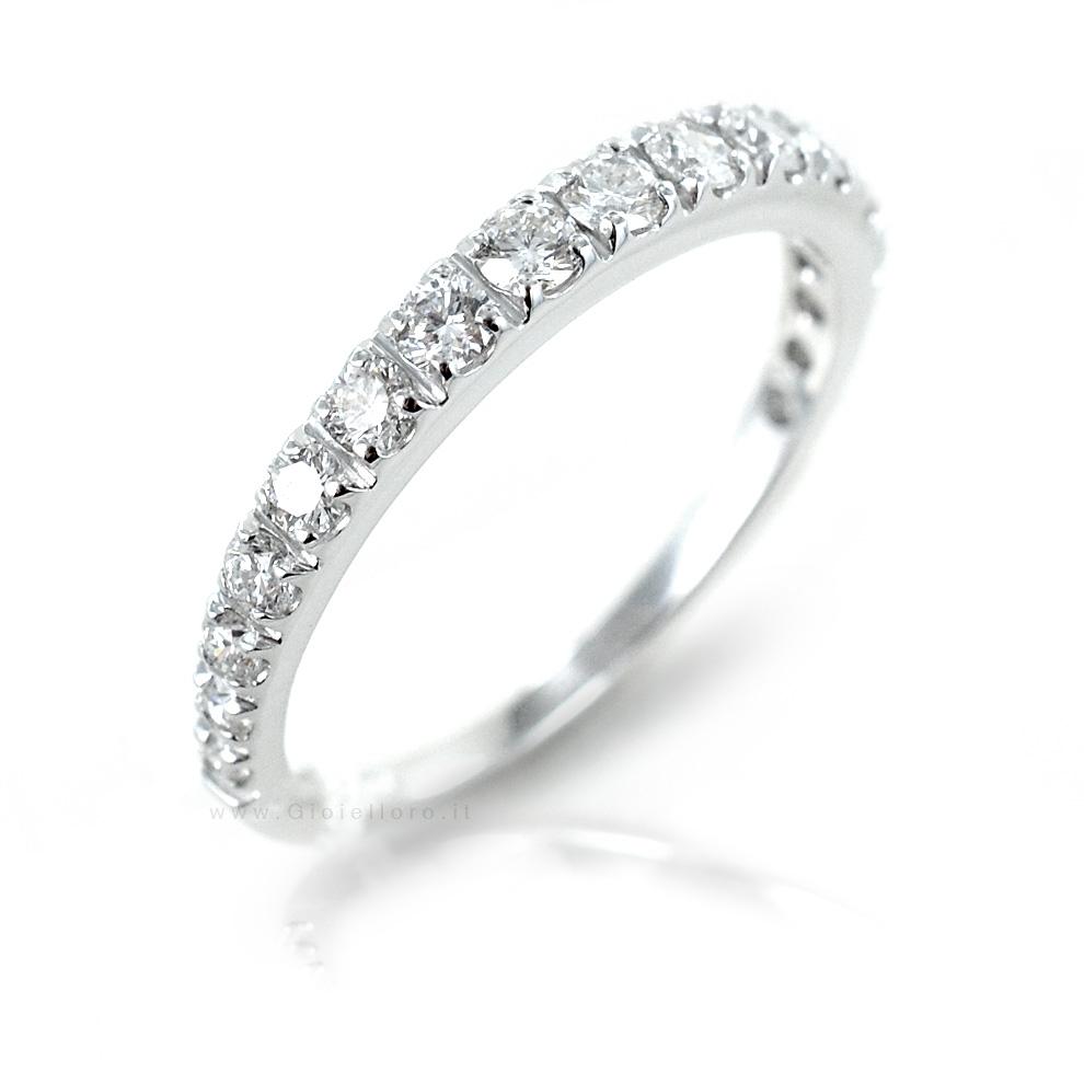 Anello Riviera con 17 Diamanti a scalare per carati 0.68 G VS Gioielli Valenza