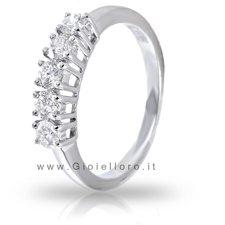Anello Riviera in oro bianco con Diamanti ct 0.50 colore G VS