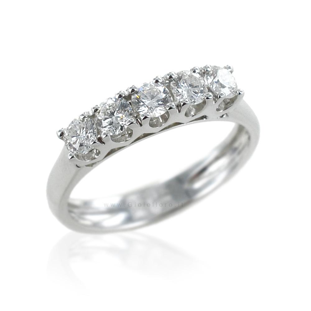 Anello Riviera in oro bianco con Diamanti ct 0.74 colore G VS Gioielli Valenza