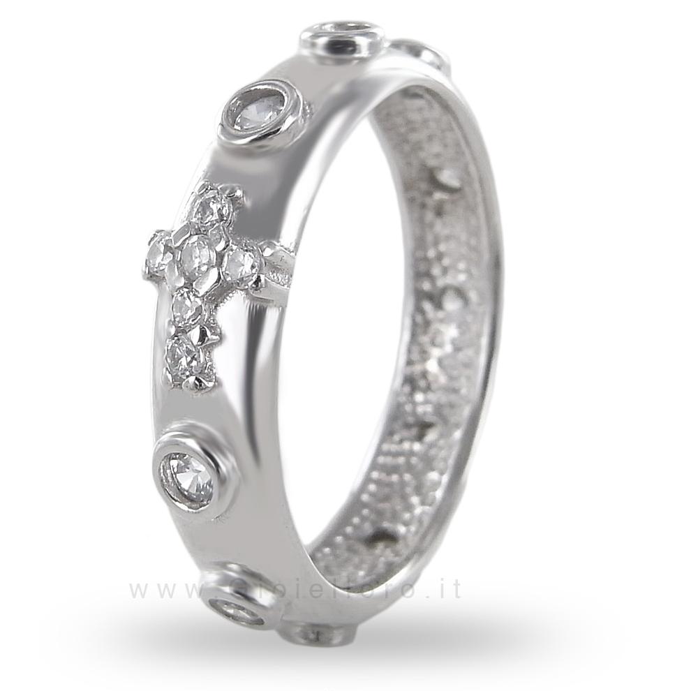 Anello Rosario in argento con strass bianchi