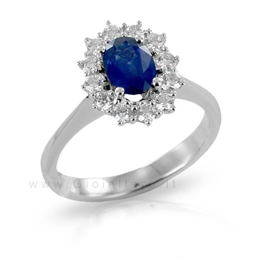 Anello Rosetta Zaffiro e diamanti Gioielli Valenza