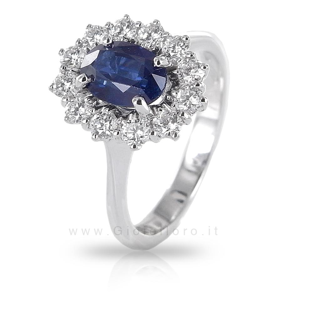 Anello Rosetta con Zaffiro e diamanti Gioielli Valenza