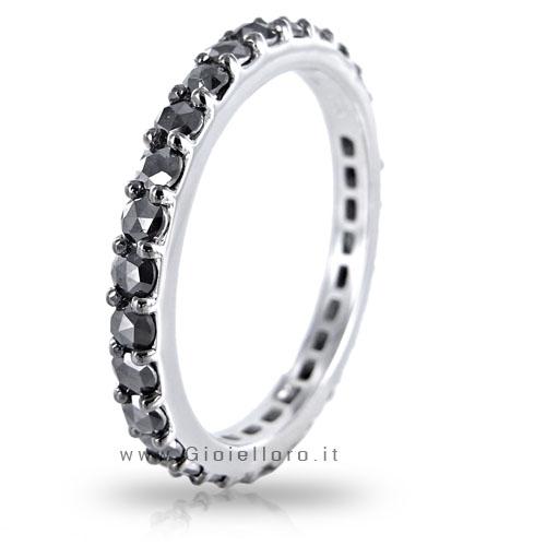 Anello Salvini Eternity Uomo in oro bianco con Diamanti Neri ct 1.30