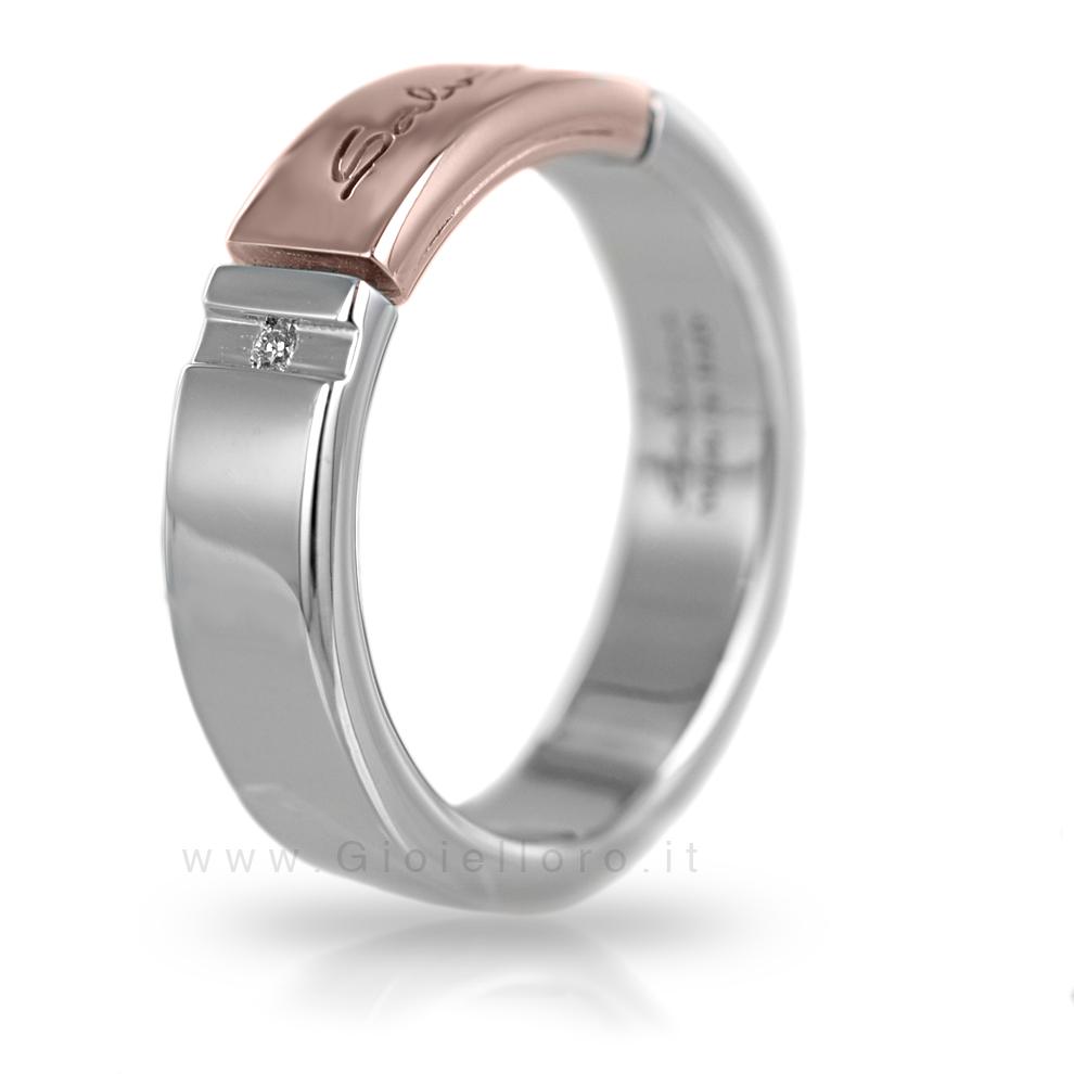 Anello Salvini uomo in argento e oro rosa con diamante misura 22