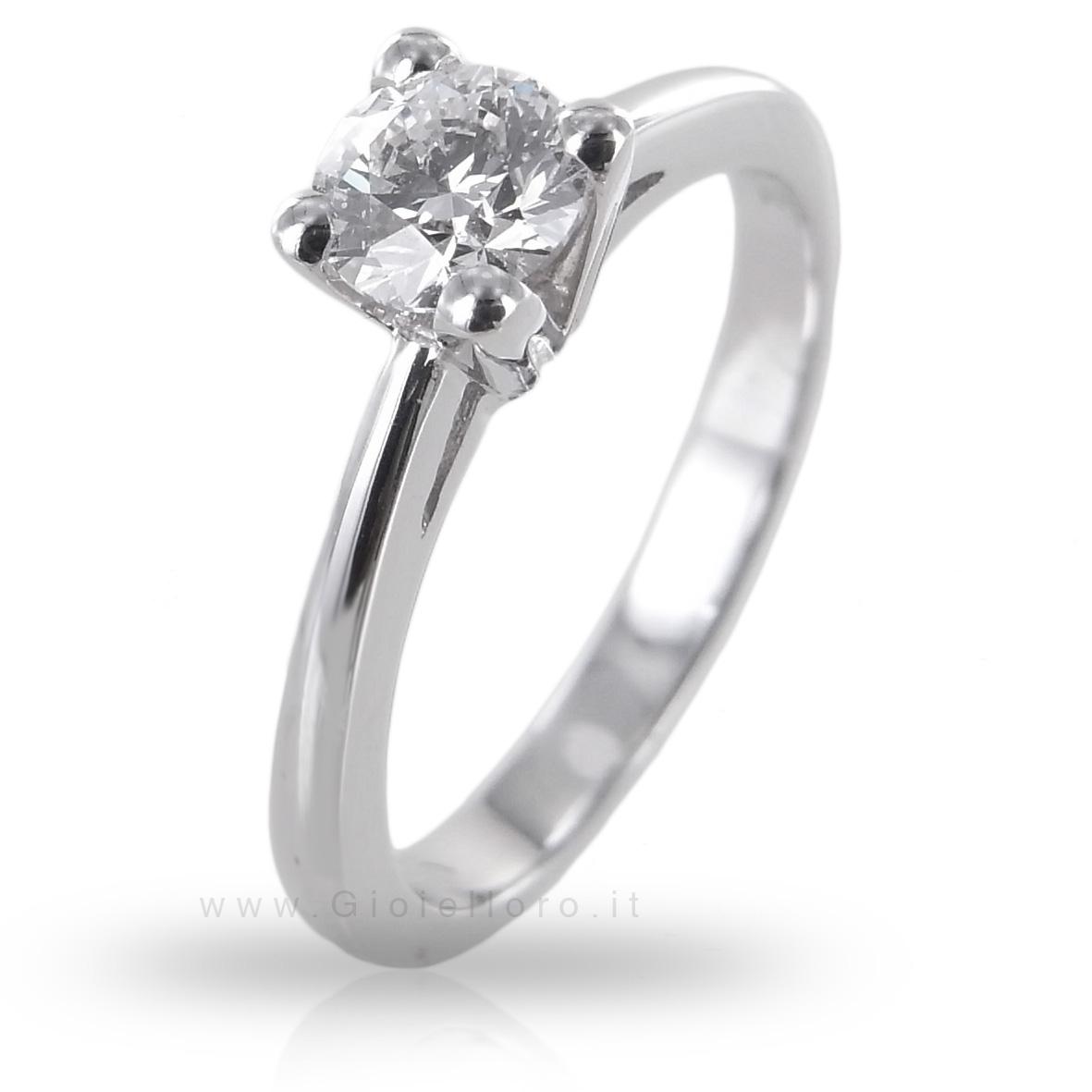 Anello Solitario con Diamante 0.47 F VS Gioielli Valenza